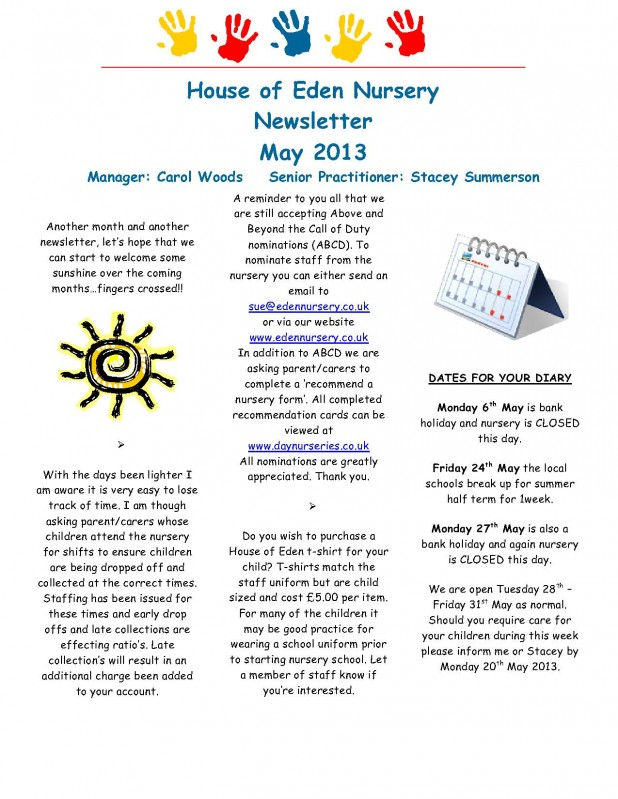 Fishburn Newsletter May 2013