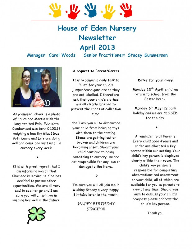 Fishburn Newsletter April 2013