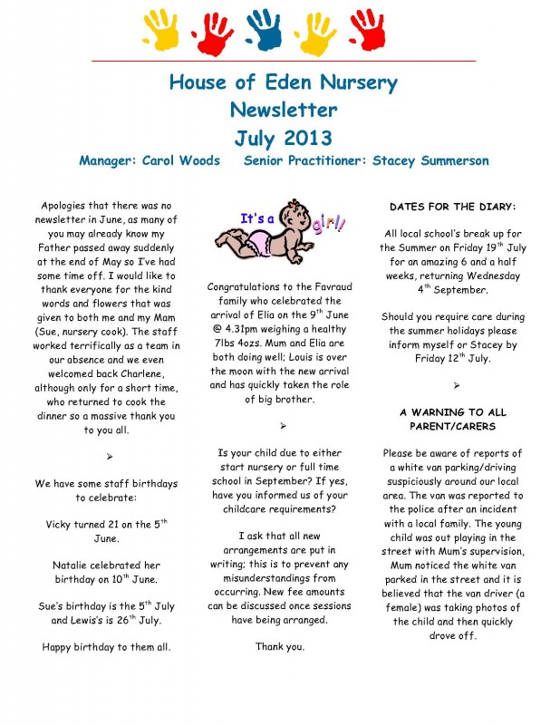 Fishburn Newsletter July 2013